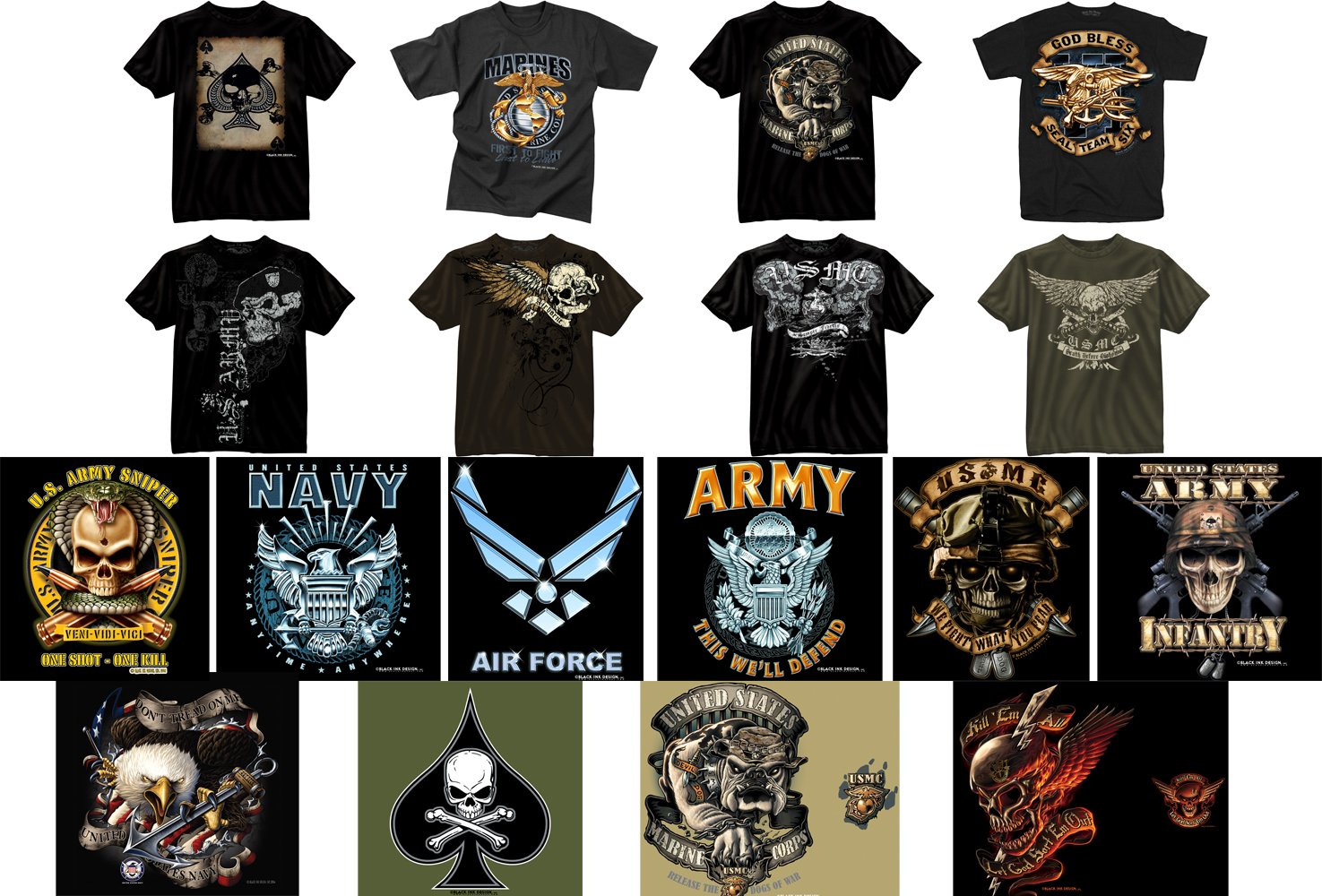 Black Ink Design Military Graphic T-Shirts