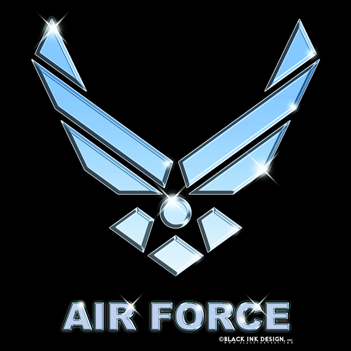 Air Force Emblem http://www.armyuniverse.com/black-us-air-force-emblem-logo-shirt-p-1878.html