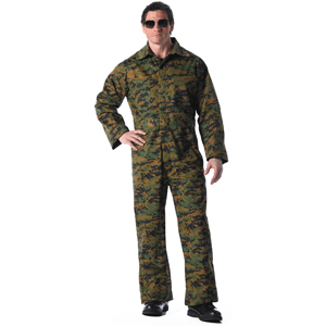 Digital Woodland Camouflage Military Jumpsuit Unlined Coverall