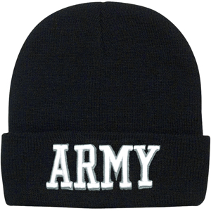 Black Army Deluxe Embroidered Knitted Winter Hat Acrylic Watch Cap