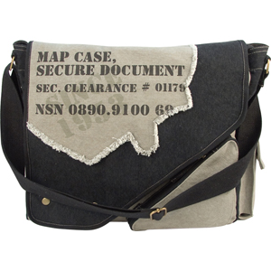 Black & Grey Vintage Military 2-Tone Imprinted Map Case Bag