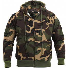 Woodland Camouflage Thermal Lined Zip Up Hoodie Sweatshirt 68c35d8886f