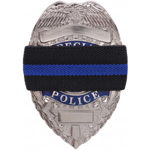 Black Thin Blue Line Support The Police Badge Mourning Band