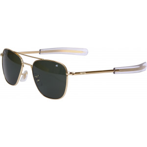 AO Eyewear Polarized Gold Genuine GI 52mm Aviator Air Force Sunglasses with Case