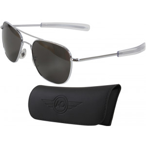 AO Eyewear Silver 55mm Genuine Air Force Pilots Sunglasses with Case
