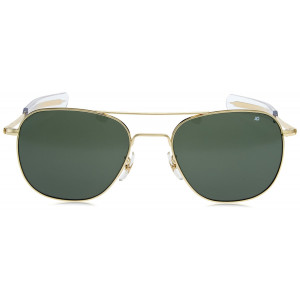 AO Eyewear Gold 55mm Genuine Air Force Pilots Green Lenses Sunglasses with Case