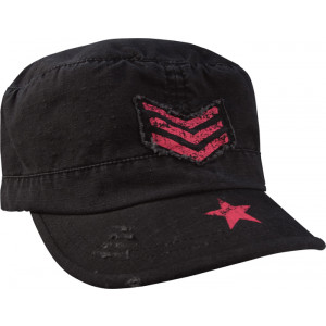 Women's Black Military Adjustable Patrol Fatigue Cap w/ Pink Stripes & Breast Cancer Ribbon