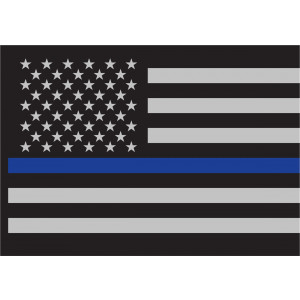 "Thin Blue Line Flag Decal 3"" x 4 1/4"""