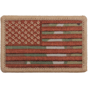 "Multi Cam Regular Forward American US Flag Iron On Patch 2"" x 3"""