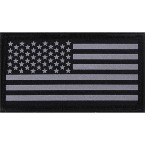 Black & Silver Subdued Reflective American Flag Hook Back Flag Patch