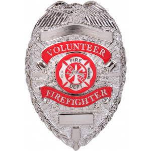 Silver Volunteer Firefighter Deluxe Fire Department Shield Badge