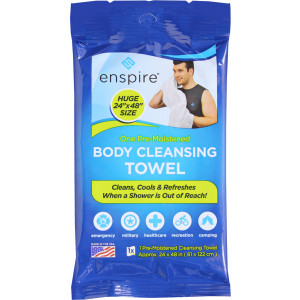 Enspire Pre-Moistened Aloe Enriched XXL Body Towel USA Made 2' x 4'