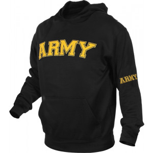 Black Military Air Force Pullover Warm Fleece Hooded Sweatshirt