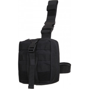 Black EMT Drop Leg MOLLE Tri-Fold Medical Pouch