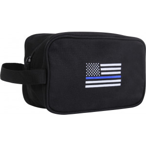 Black Thin Blue Line Travel Kit Toiletry Case Pouch