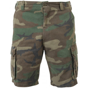 Woodland Camouflage Vintage Military Paratrooper Cargo Shorts