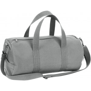 Grey Canvas Sports Gym Duffle Shoulder Carry Bag
