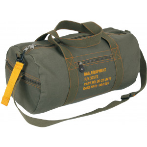 Olive Drab Canvas Equipment Duffle Carry Shoulder Bag
