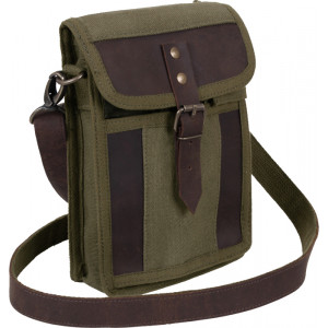 Olive Drab Military Canvas Leather Travel Portfolio Pouch
