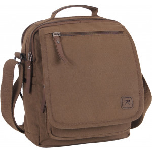 Brown Heavyweight Cotton Canvas Organizer Adjustable Travel Shoulder Work Bag