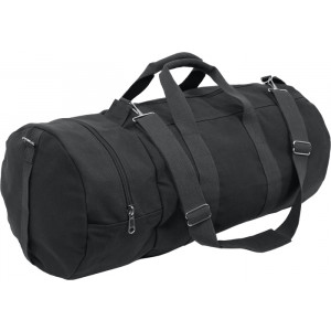 Black Double-Ender Canvas Sports Duffle Shoulder Bag