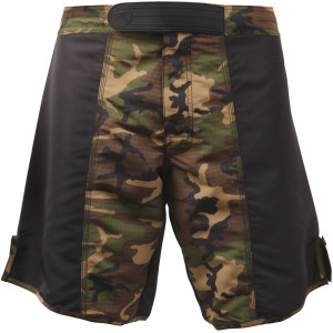 Black & Woodland Camouflage Rip-Stop MMA Fighting Shorts