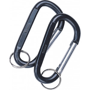 Black Jumbo 80mm Accessory Carabiner with Key Ring - 2 Pack