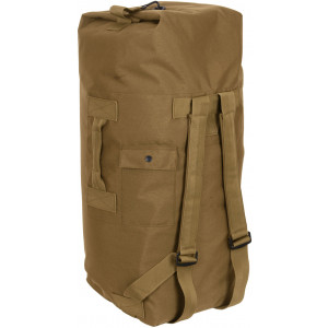 Coyote Brown Top Load Nylon Duffle Bag with Backpack Straps