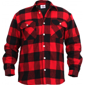 Red Extra Heavyweight Brawny Buffalo Plaid Fleece Lined Flannel Shirt
