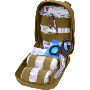 Coyote Brown MOLLE Tactical Fully Stocked First Aid & Trauma Kit