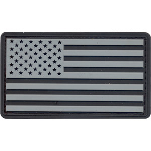 Silver & Black USA American Flag PVC Hook Patch