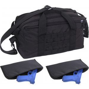 Black Compact MOLLE Concealed Carry Pistol Range Bag w/ 2 Pistol Rugs