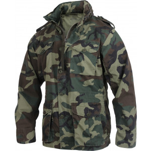 Woodland Camouflage Vintage Military Tactical Lightweight M-65 Field Jacket