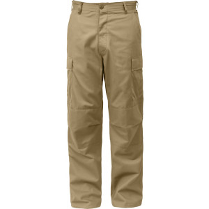 Khaki Relaxed Fit Zipper Fly Military Cargo Fatigue Trousers BDU Pants