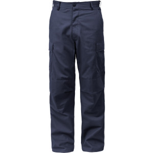 Navy Blue Relaxed Fit Zipper Fly Military Cargo Fatigue BDU Pants