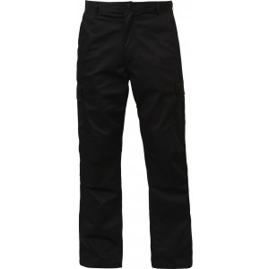 Black Relaxed Fit Zipper Fly Military Cargo Fatigue Trousers BDU Pants
