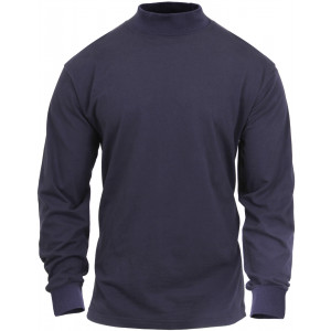 Navy Blue Law Enforcement Long Sleeve Cotton Mock Turtleneck