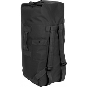 Black Top Load Nylon Duffle Bag with Backpack Straps