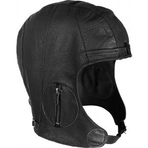 Black Military Leather Tactical WWII Pilots Helmet