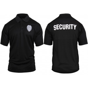 Black Moisture Wicking SECURITY Enforcement Officer Double Sided Polo Golf Shirt