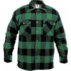 Green Heavyweight Buffalo Plaid Sherpa Lined Brawny Shirt