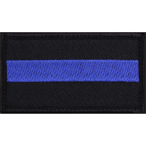 "Thin Blue Line Hook Back Patch 1 7/8"" x 3 3/4"""