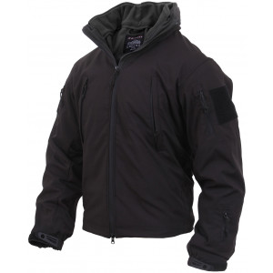 Black Military Systems 3 Season Waterproof Soft Shell Jacket with Fleece Liner