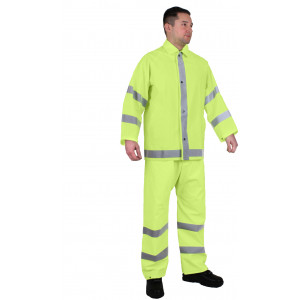 Safety Neon High Visibility Reflective 2-Piece Lightweight Rain Suit