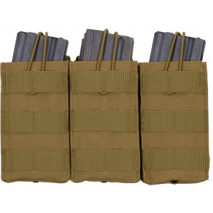 Coyote Brown MOLLE Open Top Triple MAG Pouch