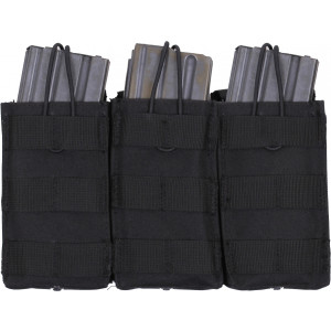 Black MOLLE Open Top Triple MAG Pouch