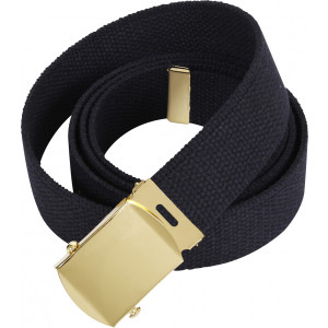 Black Military Web Belt with Brass Buckle