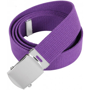 "Purple Military Web Belt with Chrome Buckle (54"")"