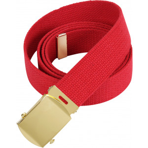 """Red Military Web Belt with Brass Buckle (54"""")"""