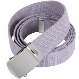 "Grey 54"" Web Belt With Chrome Buckle"